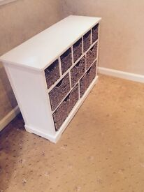 Solid wood storage case with wicker baskets