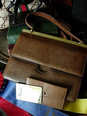 Vintage GUCCI Classic Brown Kelly Purse Handbag Tote Bag w/ Mirror Coin Wallet