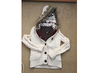 Womens Hudson And Co Winter Thick Fur Lined Button Up White Hoodie NewLook