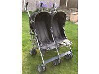 Mamas and Papas Kato2 twin buggy. Grey/black