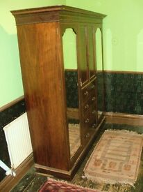 Victorian/Edwardian Triple Wardrobe with drawers and two full length mirrors