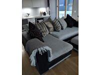 Large DFS corner sofa with footstool and cushions