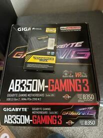 Gigabyte AB350m Gaming 3 AM4 + 2x4gb DDR4 RAM