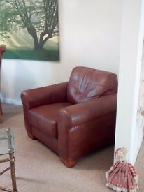 Brown soft leather amchair