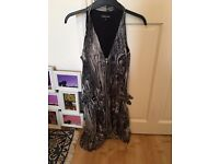 Warehouse glam dress, grey and black, size 10-12, front zip, stylish, cute, cool, trendy