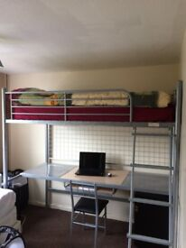 Single Bunk Bed With Desk & Mattress & Chair