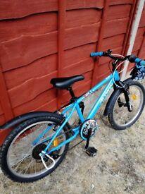 "Kids Blue B-twin bike. 20"" frame. Aged 6-8. 4 and half star rating on Decathlon website."