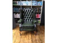 Chesterfield button wing back distressed leather armchair Queen Anne chair dark racing green