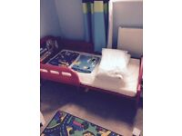 Mickey Mouse toddler bed with mattress and x2 quilt covers and pillow cases