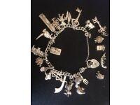 Vintage .925 STERLING SILVER Charm Bracelet