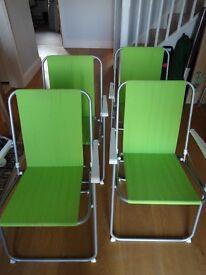 4 x Green Spring Folding Garden / Picnic / Camping Chairs