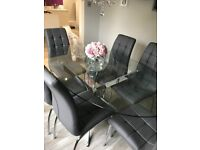 Glass oval table & 6 chairs