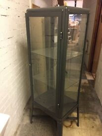 Glass door cabinet, dark grey