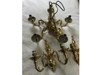 Lovely Solid Brass chandelier & 2 matching wall lights
