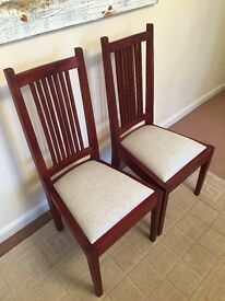 6 dining chairs - mahogany with beige seats