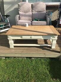 Large solid oak coffee table with draw