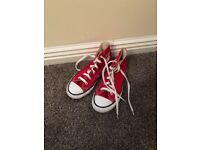 Red converse high tops size 1& half