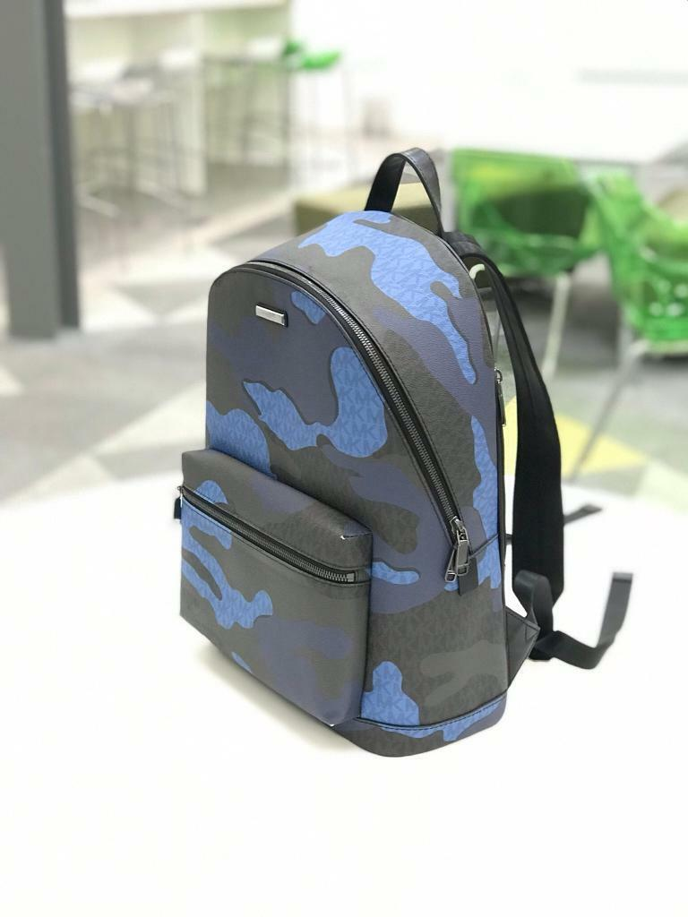 c86a6477e241 MICHAEL KORS MK Leather Kent Blue Camouflage Backpack BAG ...