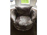 Crushed velvet cuddle / swing chair