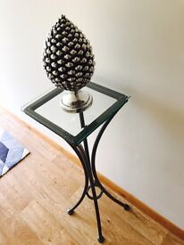Tall Silver Grey Powder Coated Glass Top Lamp Table
