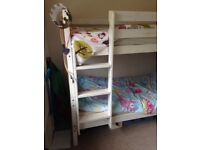 White wooden Bunk beds and mattresses