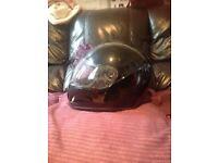 Plain black motor bike helmet