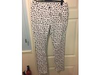 Ladies new with tags heart print jeans black and white size 18