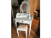 Brand New White Traditional Style Dressing Table With Mirror And Padded Stool