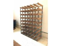 LARGE TRADITIONAL OAK & METAL WINE RACK, FOR 56 BOTTLES !