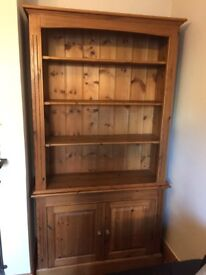 Pine sideboard, two piece, for use as bookcase or display.