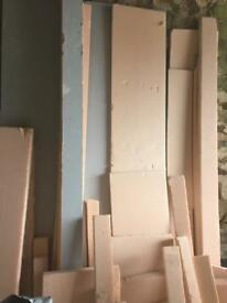 Plaster board insulation off cuts sheets