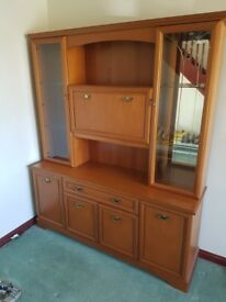 Teak display unit with lighting. Excellent condition.