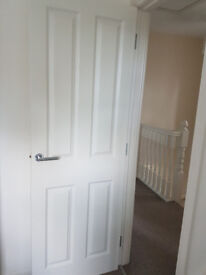 2 x Nearly New Four Panel Solid Wood Doors