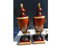 Table lamps, vintage look wood and gold gilt trim, quality Chelsom brand lamps, £10 each/ £15 pair,
