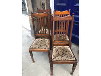 4 Mahogany Splat Back Chairs , easy to replace seat covers Free Local Delivery. £80 set of 4 chairs