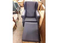 Vinyl nursing chair with footstool