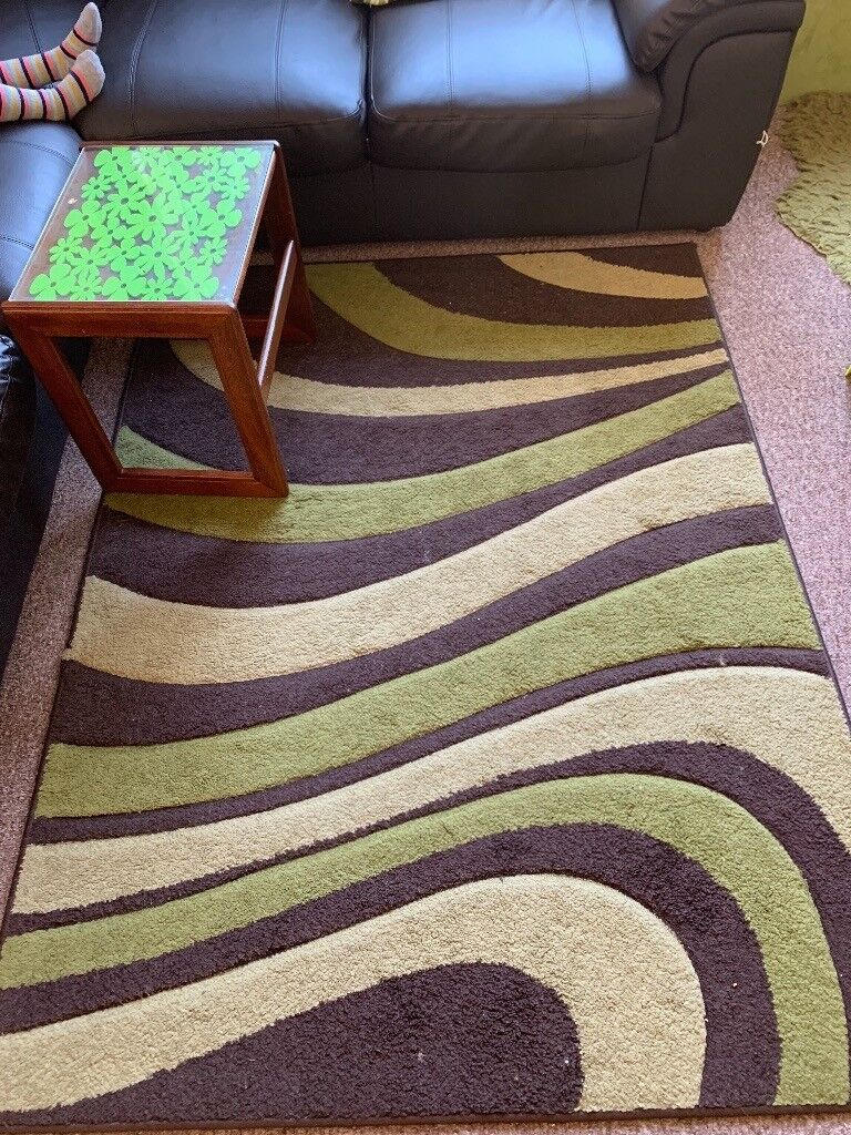 Lime Green Brown Mix Rug 120cm By 160cm