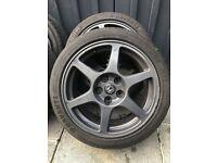 17' Enkei Evo 8 Alloys, 5 x 114.3, with tyres + wheel nuts