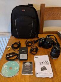 Mint Condition Nikon D3300 DSLR - 7419 shutter count, Nikon DS VR 18-55MM lens & DURAGADGET Backpack