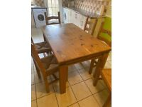 Farm house table and 6 chairs