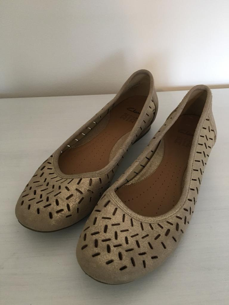 Clarks – Active Air - Ladies / Woman's – Pump / Flat – Gold Leather –