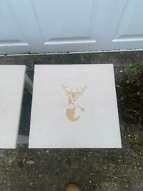 Pair of stag coffee tables