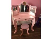 Children's pink princess dressing table & stool