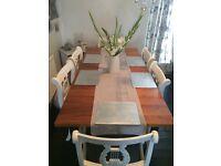 John Lewis walnut veneered extendable dining table