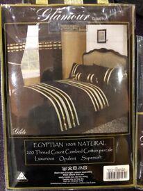 Glitz Black & Gold Duvet Set Kingsize with Pillowcases, x 2 pairs Curtains & Roll Pillow