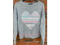 Heart jumper and pink hoodie size 8