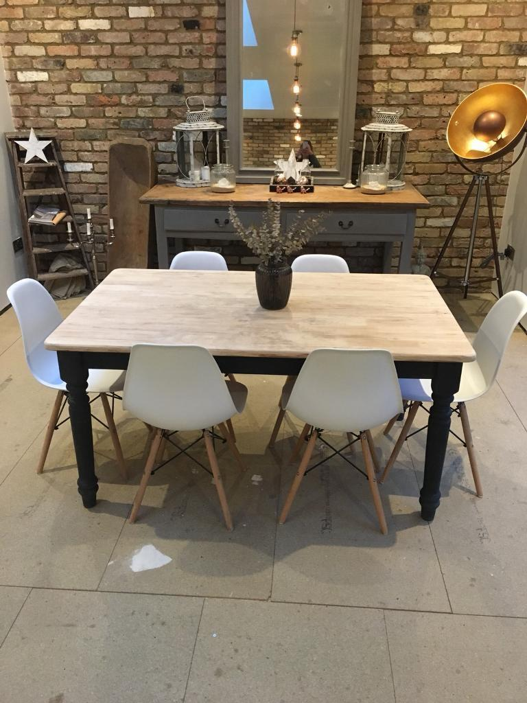 Rustic farmhouse kitchen dining table