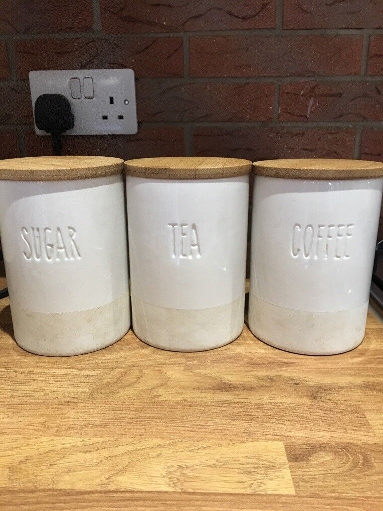 Cream And Pine Wood Kitchen Canisters In Leeds West Yorkshire Gumtree