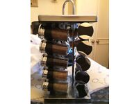 Silver cubed swivel spice rack