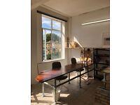 Reclaimed Iroko Wood desk workbench office or studio furniture vintage Retrouvius